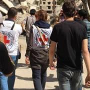 دخول الصليب الأحمر الدولي مع  شحنة مساعدات انسانية إلى داريا